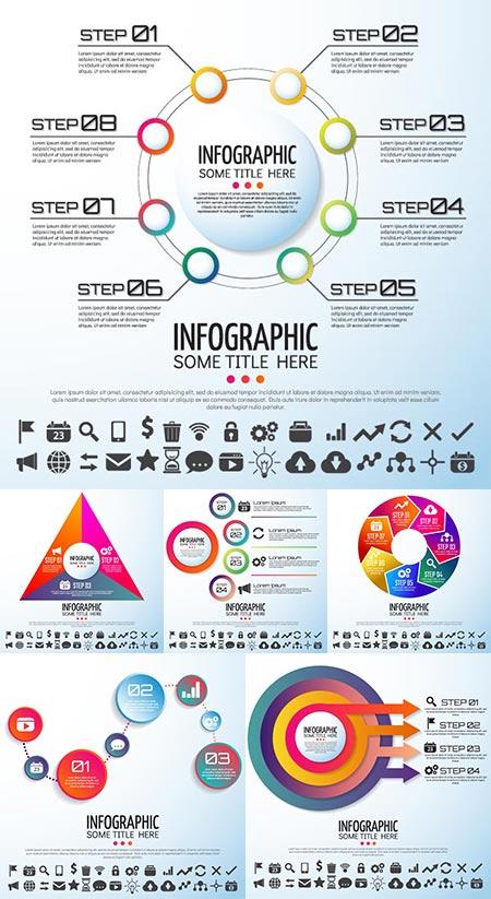 36 circular elements vector infographics