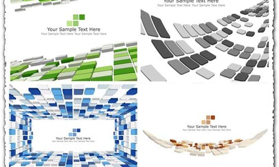 Mosaic banners with 3D elements