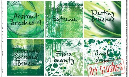 Green Art abstract brushes for Photoshop