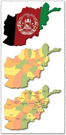 Afganistan map – 3d, administrative and major cities