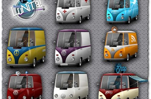 Png bus and cars icons collection