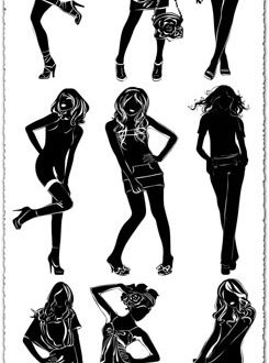 Girls silhouette brushes for Photoshop