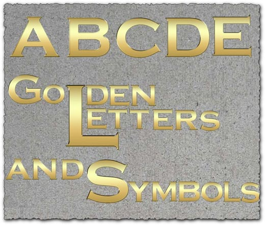 Golden letters numbers and symbols