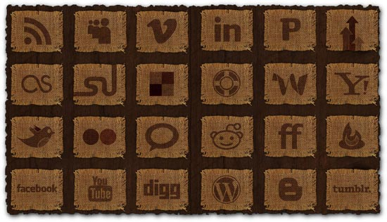 Social media fabric png icons
