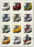 Retro vehicles png icons