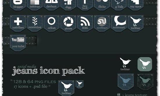Jeans social media icons style