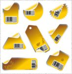 Yellow stickers vectors with bar codes