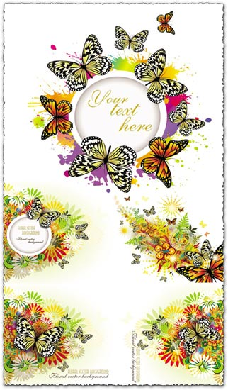 Abstract spring with butterflies textures