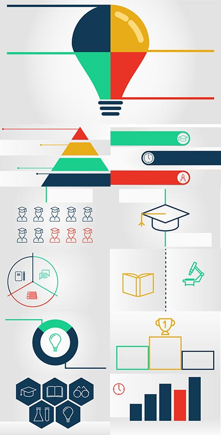 Academic charts and bars vector infographics