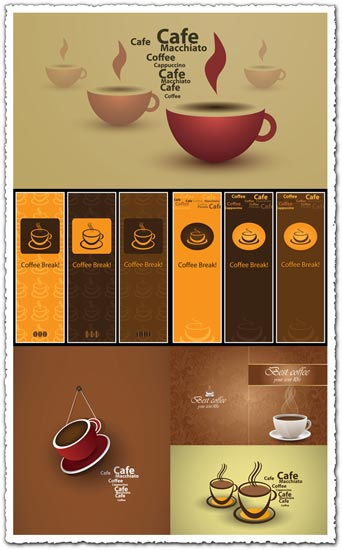 Advertising coffee vector cards