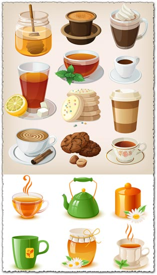 Afternoon tea tabiets vector