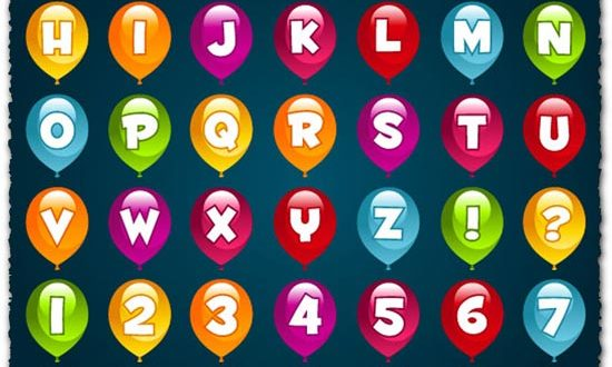 Alphabet letters in colored balloons vectors