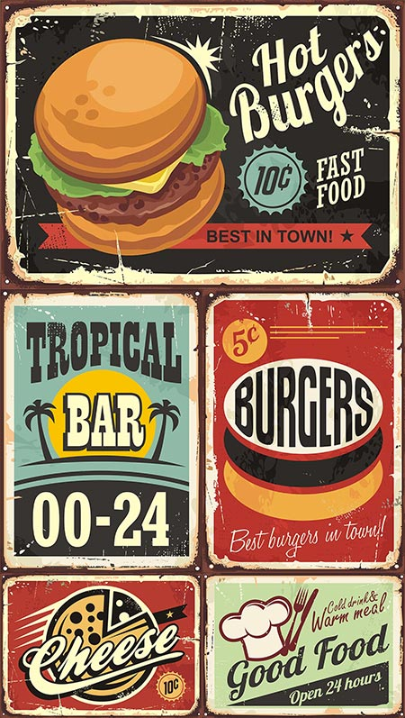 American vintage label signs vector
