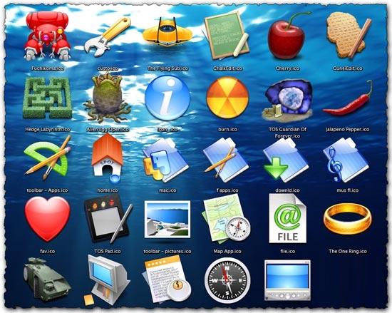 Aqua world vector icons
