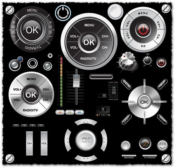 Audio navigator buttons vector