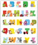 Baby alphabet letters with animals vector