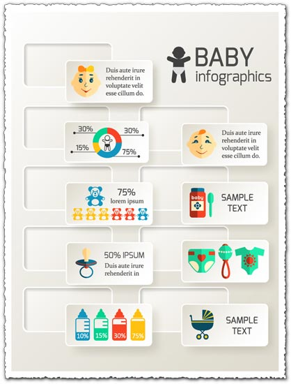 Baby stickers infographics map vector