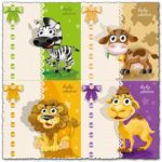 Baby zebra, lion, cow and camel vector card
