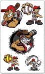 Baseball cartoon characters vector