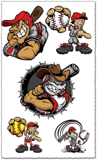 Baseball cartoon characters vector