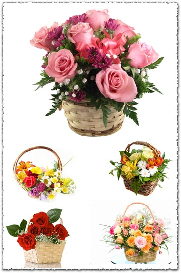 Basket with flowers images