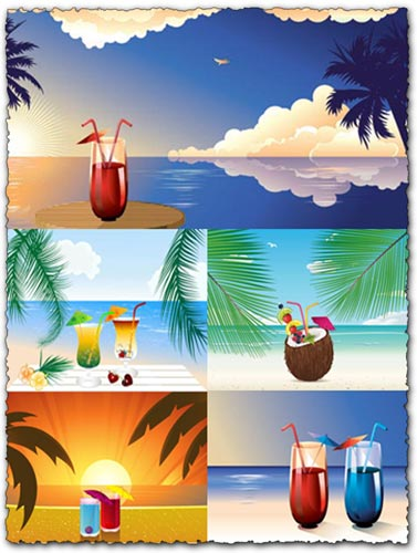 Beach cocktails vector design