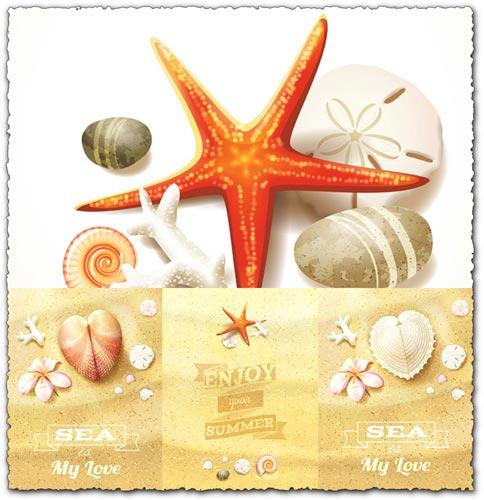 Beach, sea and souvenirs vectors