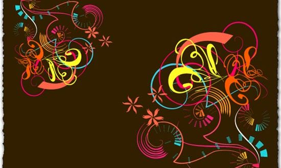 Colored curly vector template