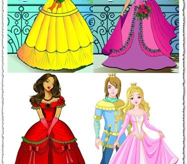 Beautiful princess vector cartoons