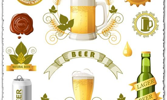 Beer bottles, cans and mugs vectors