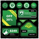 Best choice green vector labels