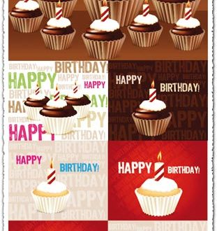 Birthday cakes with candles vectors