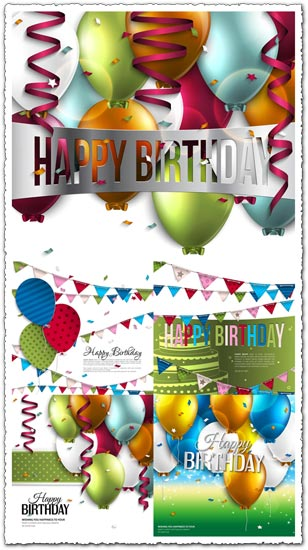 Birthday colored balloons vector cards
