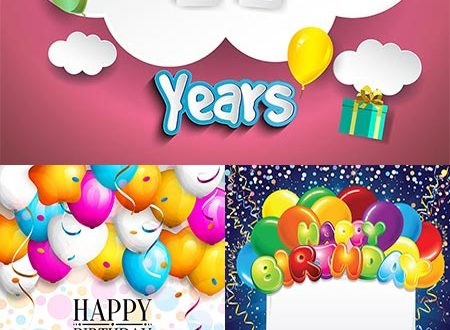 Birthday party cards and invitations vectors