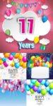 Happy birthday vector invitation cards