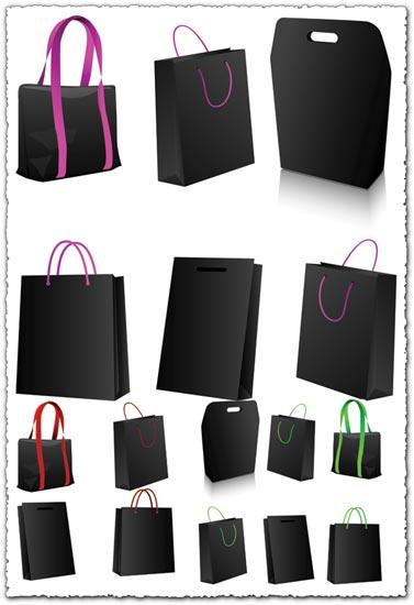 Black shopping bags vector
