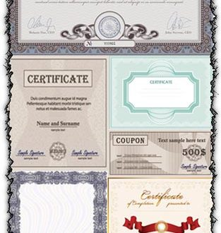 Blank certificates vectors