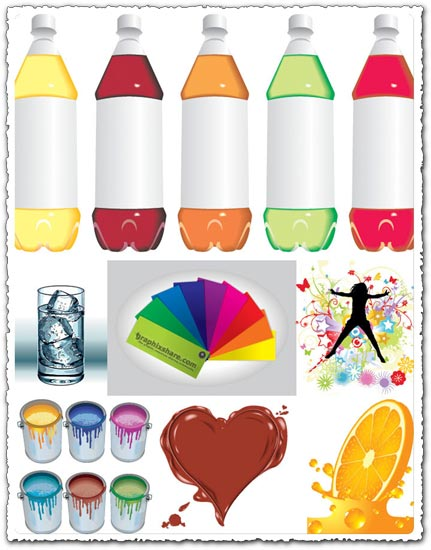 Glass, ice cubes and bottles shapes vector