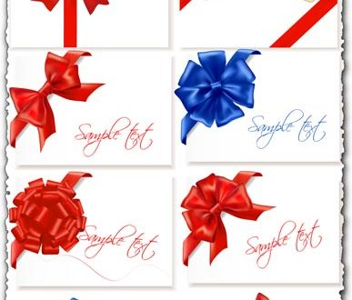 Bows and ribbons vector cards
