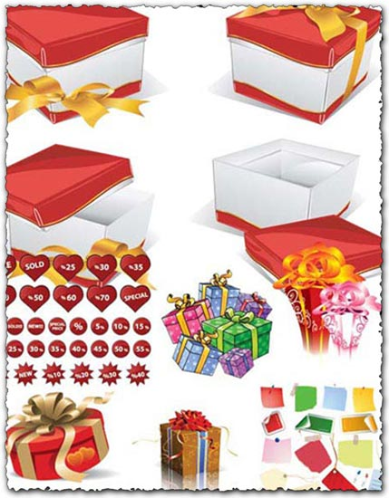 Boxes and labels vector design elements
