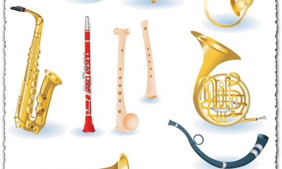 Brass music instruments vectors