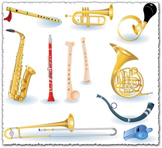Brass music instruments vectors