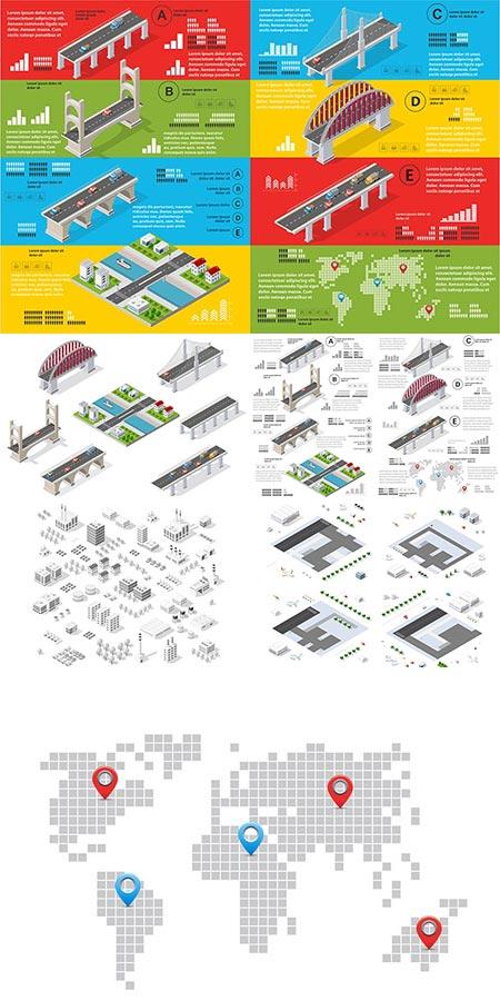 Bridges and buildings architecture vectors