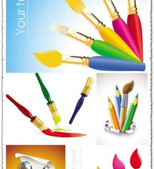 Brushes and crayons vectors design