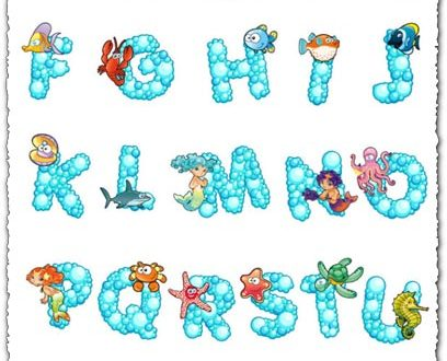Bubble alphabet with sea animals vectors