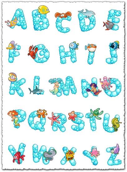 Bubble alphabet with sea animals vectors
