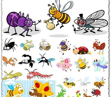 Bugs and insects vector tags
