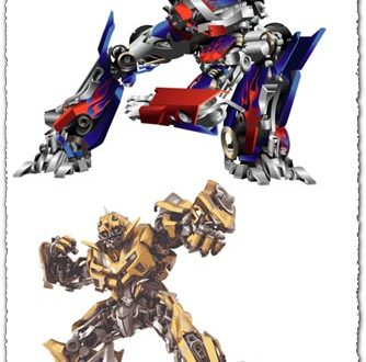 Bumblebee and Optimus Prime transformers vectors