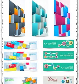 Business banners with cubes vectors