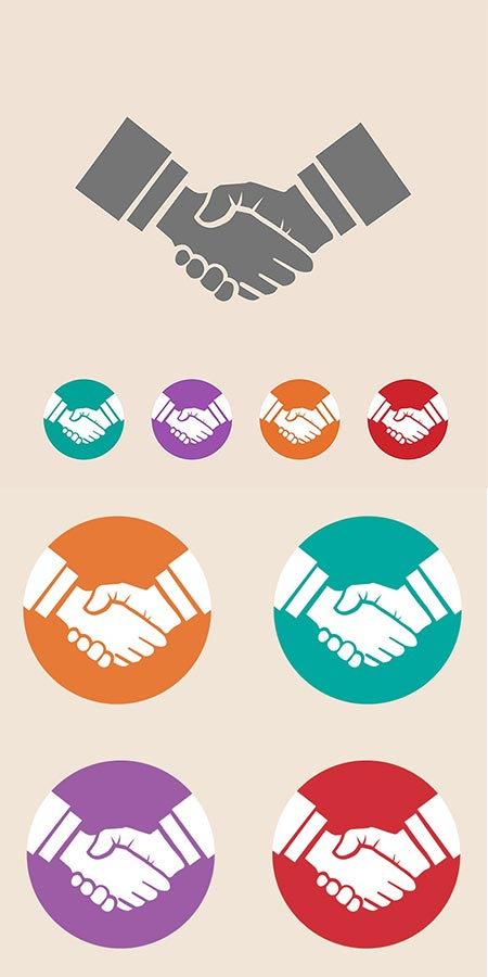 Business handshake vector flat design